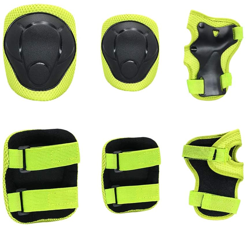 VORCOOL Kid's Knee Pads Elbow Pads Wrist Guards for Skateboarding Cycling Skating Roller Blading Protective Gear (S, Yellow)