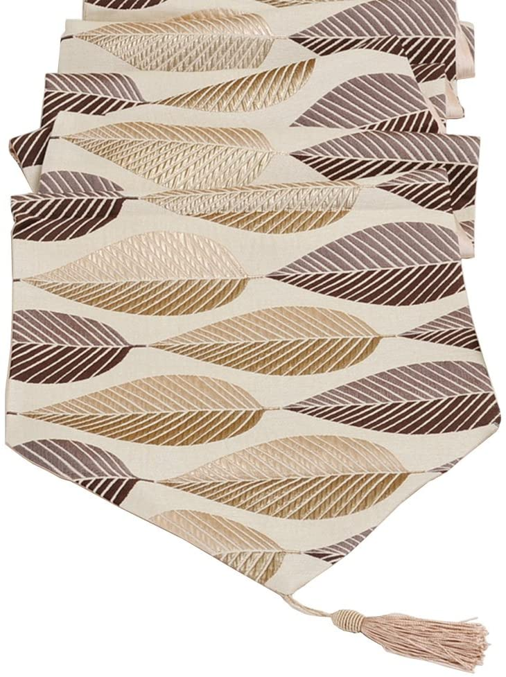 Elegant Leaf Jacquard Table Runners LivebyCare For Home Decorative Coffee Table 13 x 48 Inches Polyester Table Runner Coffee