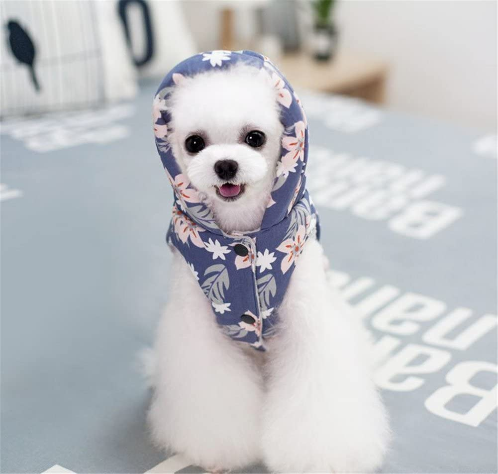 JIEYA Small Dog Vest with Hat Pet Demin Floral Printed Sweatshirt Hoodie Winter Warm Thicken Coat for Puppy