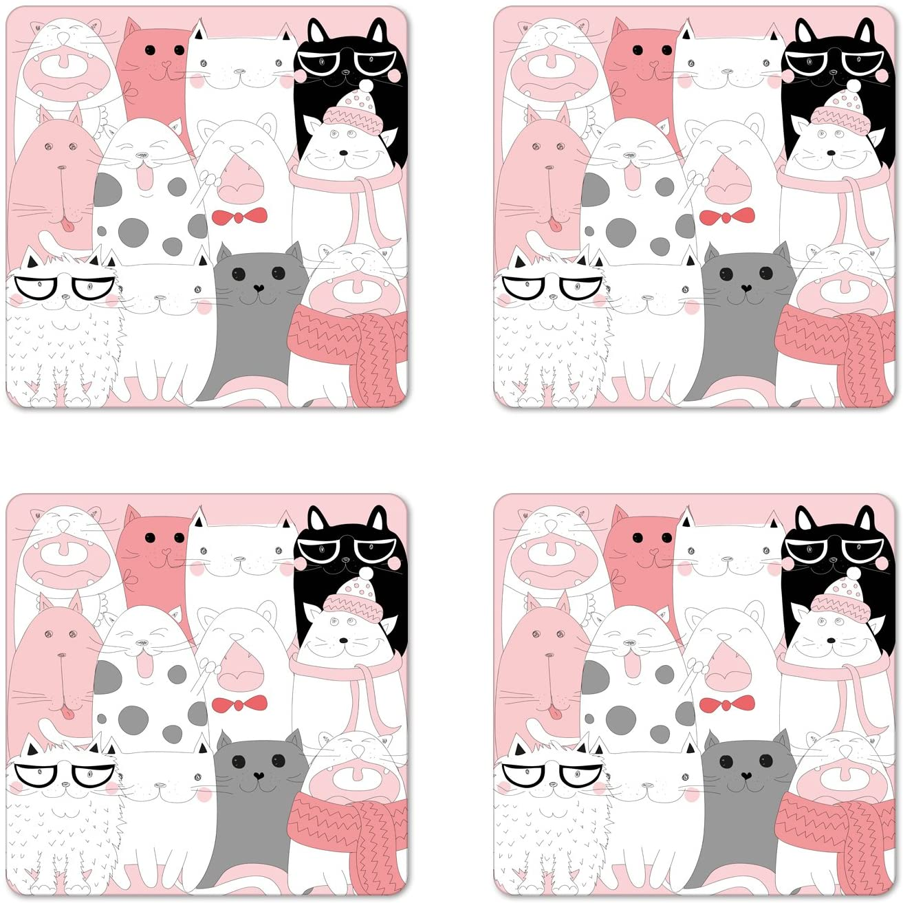 Ambesonne Cat Coaster Set of 4, Cartoon Kittens Funny Smiling Glasses Scarfs Doodle Humorous Design, Square Hardboard Gloss Coasters, Standard Size, Pink White