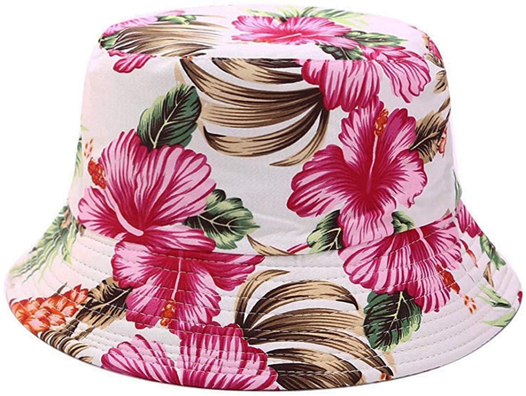 Floral Print Bucket Hat Hawaii Vintage Fisherman Hats Summer Reversible Packable Cap