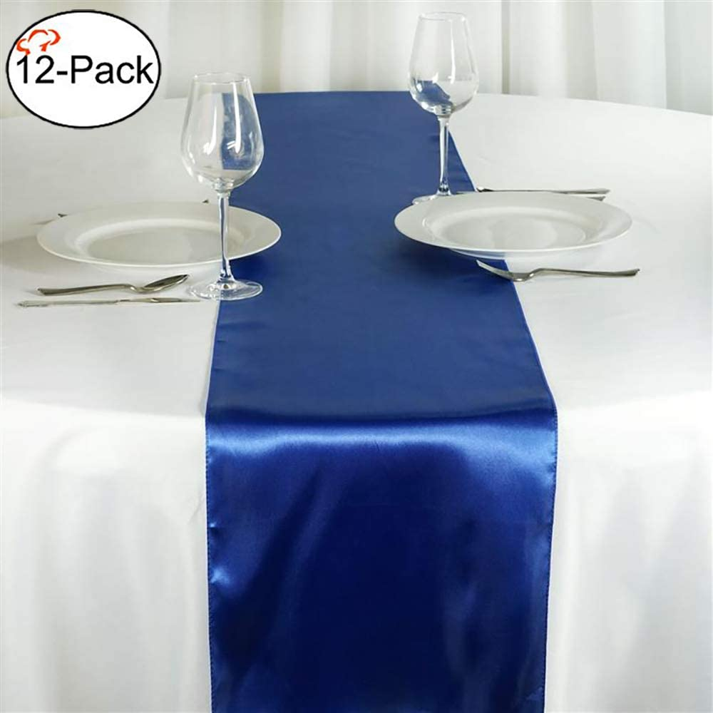Tiger Chef 12-Pack Royal Blue 12 x 108 inches Long Satin Table Runner for Wedding, Table Runners fit Rectange and Round Table Decorations for Birthday Parties, Banquets, Graduations, Engagements