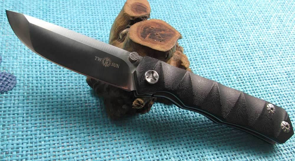 TwoSun New EDC G-10 Handle D2 Ball Bearings Fast Open Pocket Folding Knife TS09