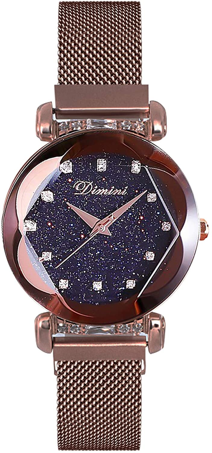 RORIOS Fashion Ladies Watch Mesh Band Starry Sky Dial Analogue Quartz Wrist Watch for Women