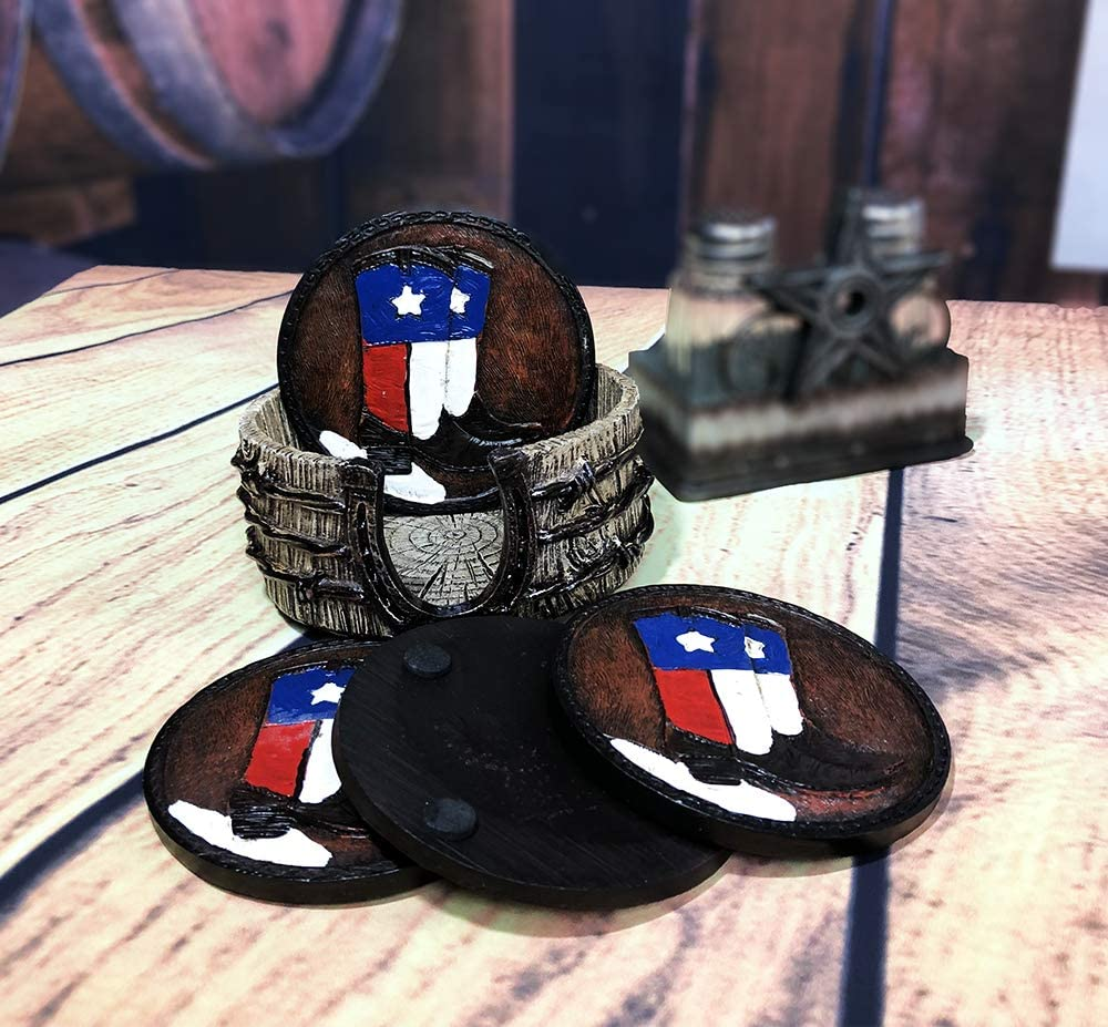 Texas Cowboy Boots Coasters With Barbwire Horseshoe Holder