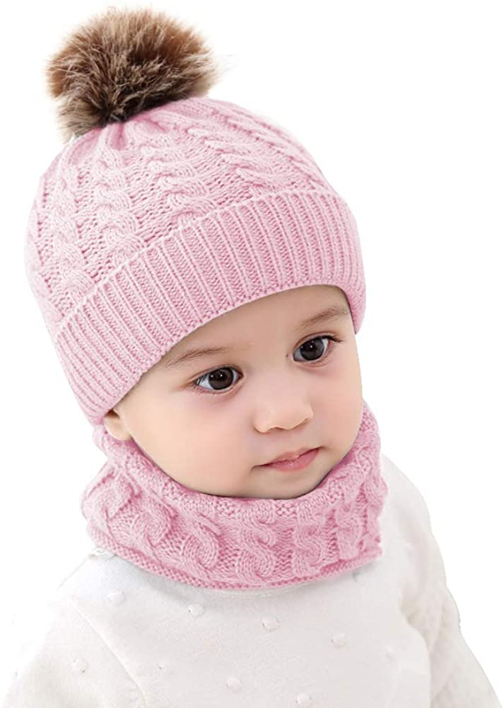 Baby Girls Boys Winter Beanie Hat Scarf Set Toddler Warm Knitted Hats Circle Scarf for Infant Newborn Winter Pom Hat