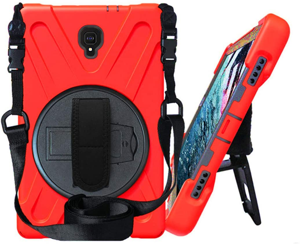 Galaxy Tab A 10.5 (2018) [T590 / T595 / T597] Case by KIQ Shockproof Heavy Duty Military Armor Hybrid Case Cover Kickstand for Samsung Galaxy Tab A 10.5 2018 SM-T590 (Shield Red)