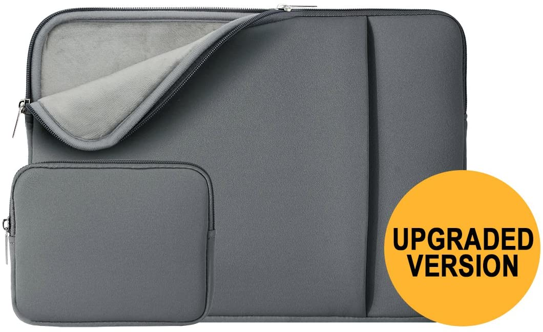 RAINYEAR 15 Inch Laptop Sleeve Case Bag Cover with Front Pocket & Accessories Pouch,Compatible with 2019 2020 New Model 15.4 MacBook Pro/Touch Bar Specially for A1707 A1990(Gray,Upgraded Version)
