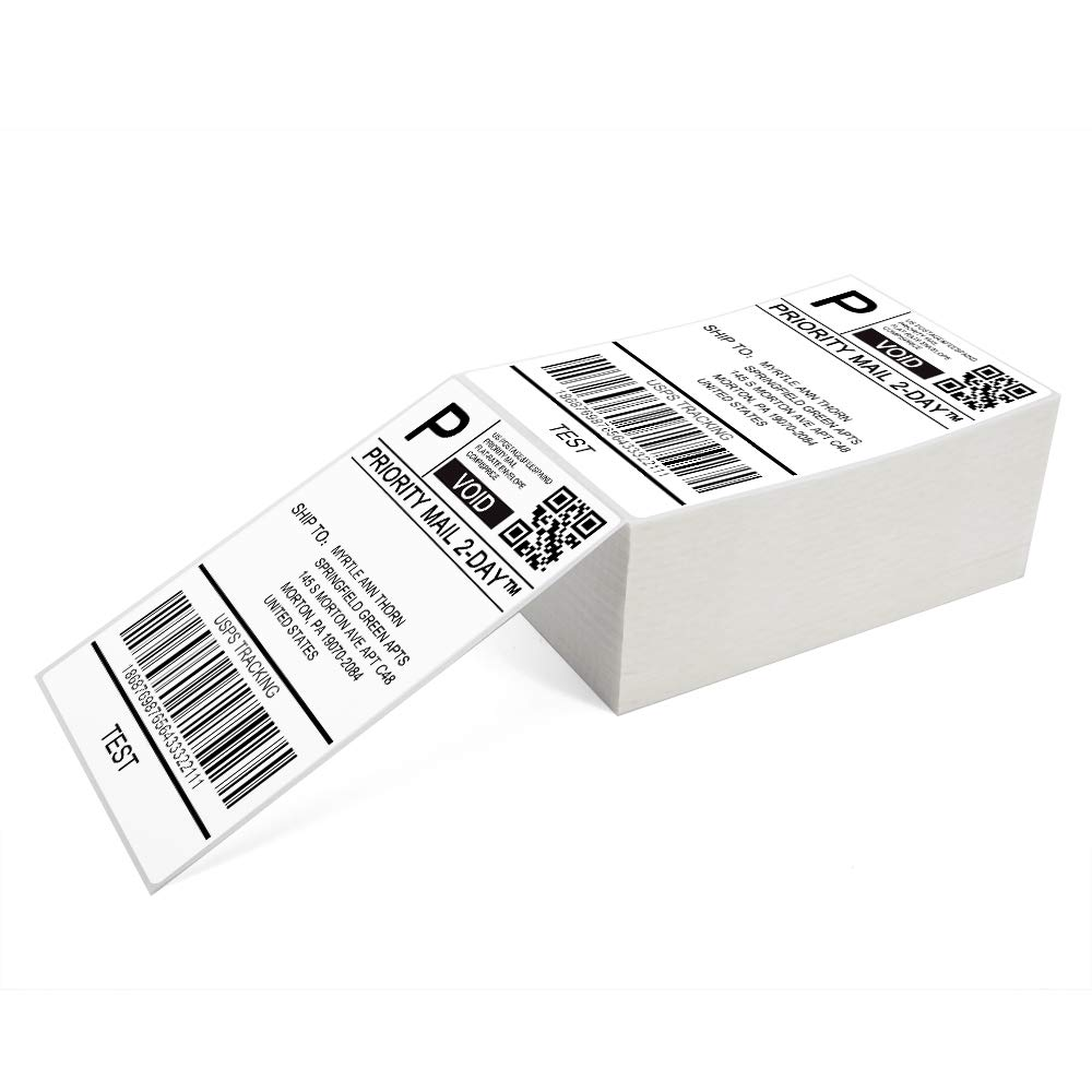 4 x 6 Direct Thermal Shipping Labels Commercial Grade Fanfold Shipping Label, 500 Labels/ 1Pack, Perfect for Desktop Shipping Label Printer