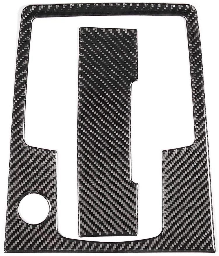 Hlyjoon 2pcs Carbon Fiber Gear Shift Panel Trim + Cigar Lighter Cover Sticker Cigar Lighter Cover Interior Accessory Fits for Q7 2008 2009 2010 2011 2012 2013 2014 2015
