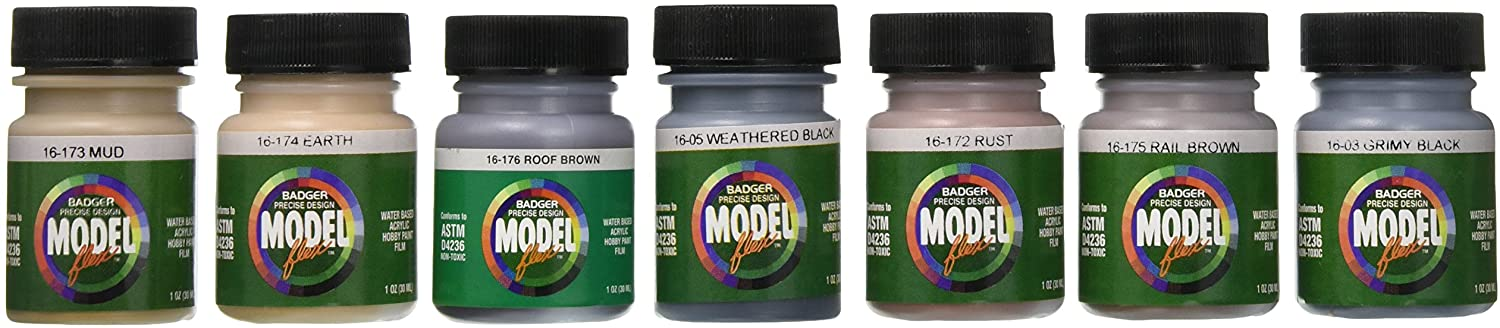 BADGER Modelflex Railroad Airbrush Paint - Weathering Colors
