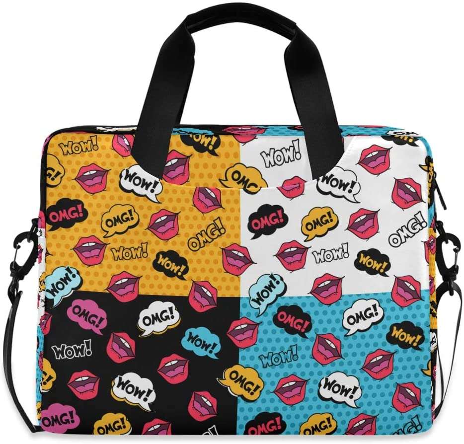 MAHU Laptop Case Bag Comic Word Sexy Lips Pattern Laptop Sleeves Briefcase 13 14 15.6 inch Computer Messenger Bag with Handle Strap for Women Men Boys Girls