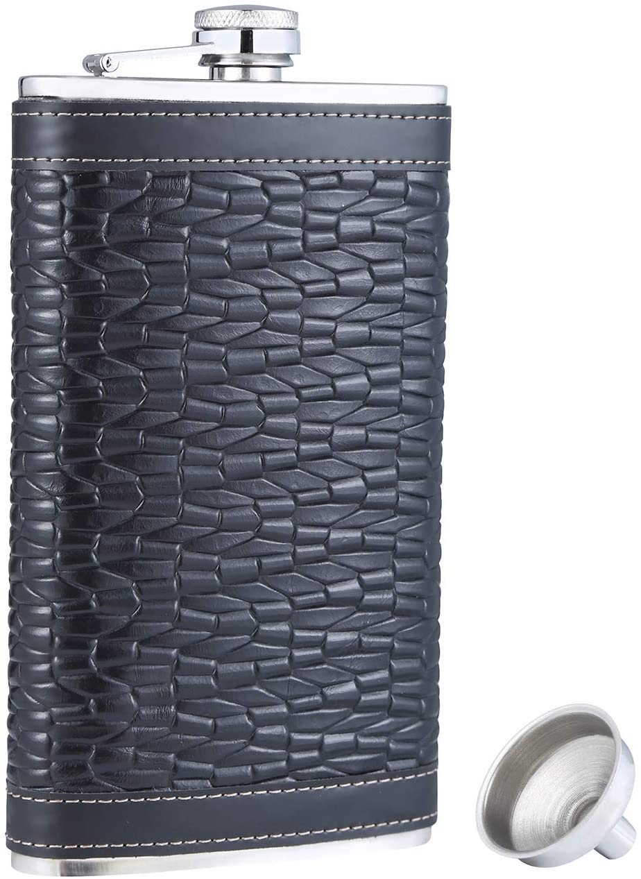 TOX TANEAXON 12 oz Woven Pattern Pocket Whiskey Liquor Leather Wrapped Flask with Funnel and Premium Box - Stainless Steel and Leak Proof