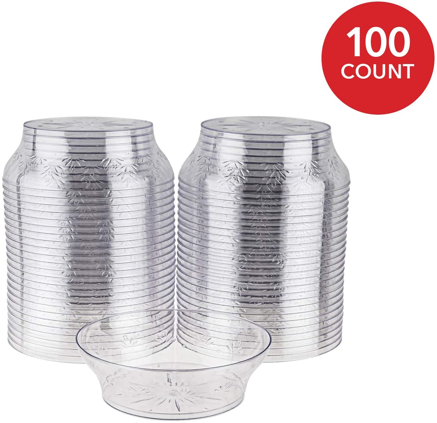 Ice Cream Cups (100 Count) 10 Oz Clear Plastic Dessert Bowls with Floral Design, Disposable Party Cups for Dessert, Ice Cream Sundae, Candy, Salsa - Small Serving Bowls, 10 Ounce