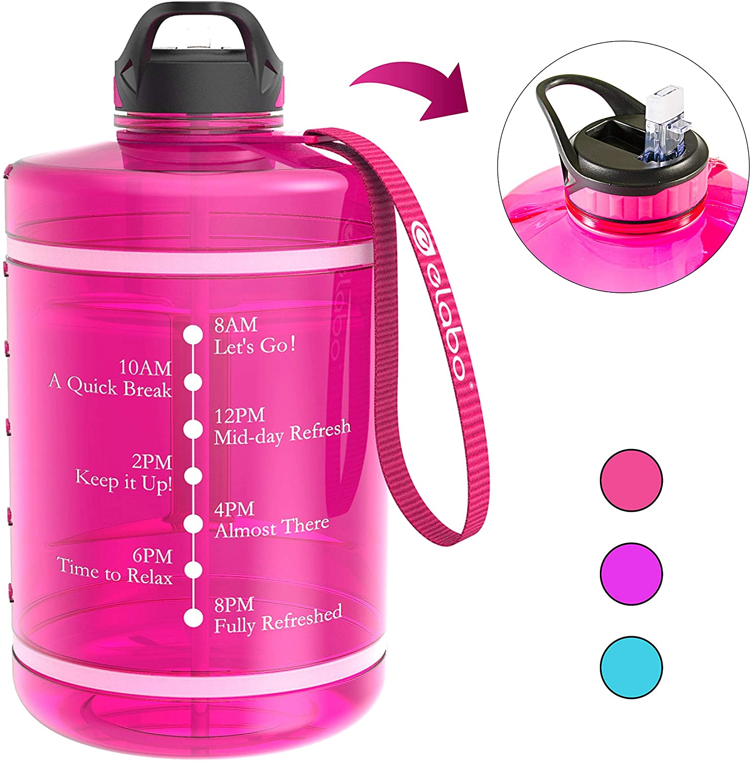 Elabo 1 Gallon Motivational Water Bottle with Time Marker and Straw, 128oz BPA Free Leak-proof Water Jug for Fitness, Sports, Gym and Running