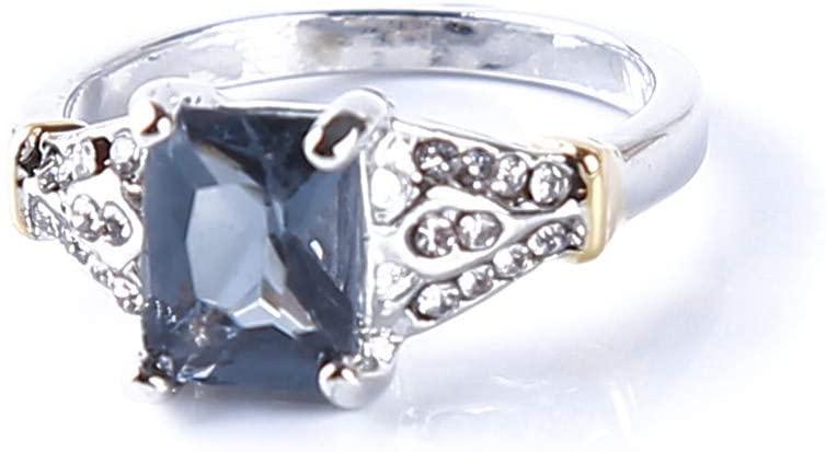 SONGLIN Blue Natural Rhinestone Multicolor Zircon Ring Engagemenrt Ring for Women no.6