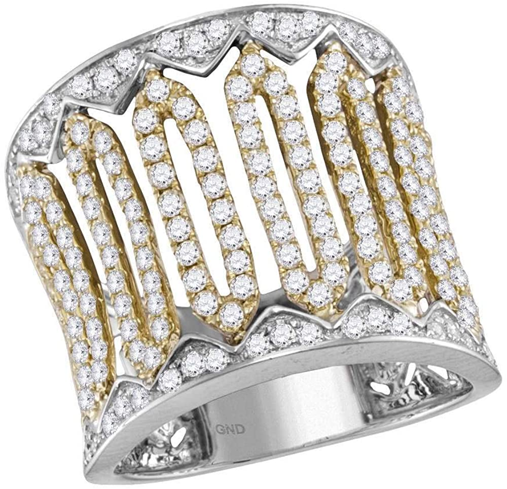 Dazzlingrock Collection 14kt Two-Tone White Gold Womens Round Diamond Cocktail Band Ring 1-1/2 ctw