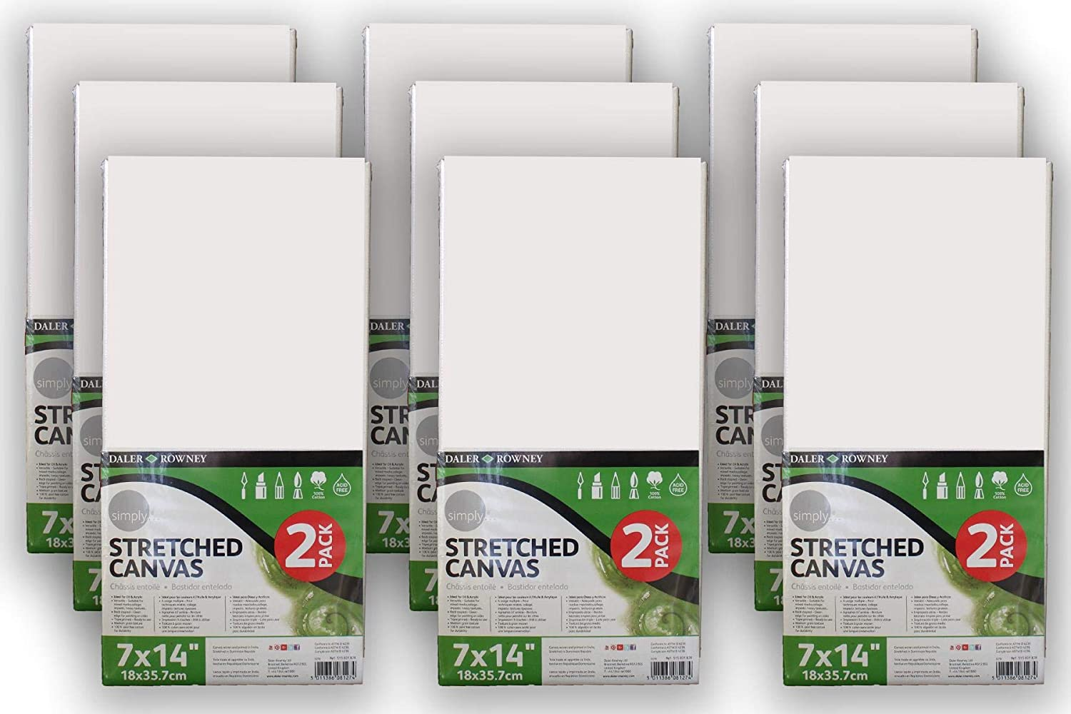 Thorness 9 Packs of 2 Daler Rowney Stretched Canvases 18cm x 35.7cm