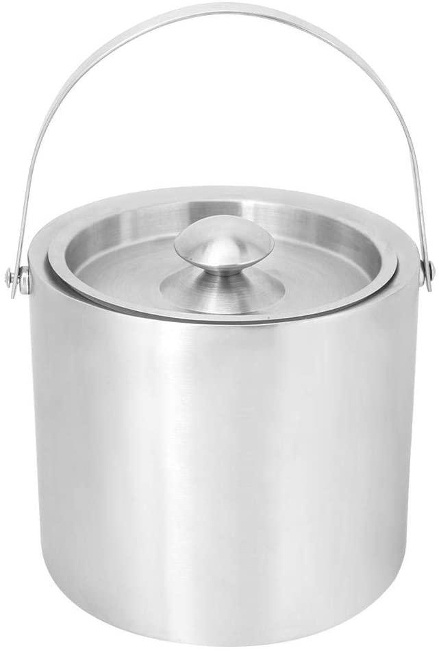 3L Ice Bucket Thick Stainless Steel Insulation Ice Bucket Beer Barrel Wine Bottle Cooler Wine Utensils
