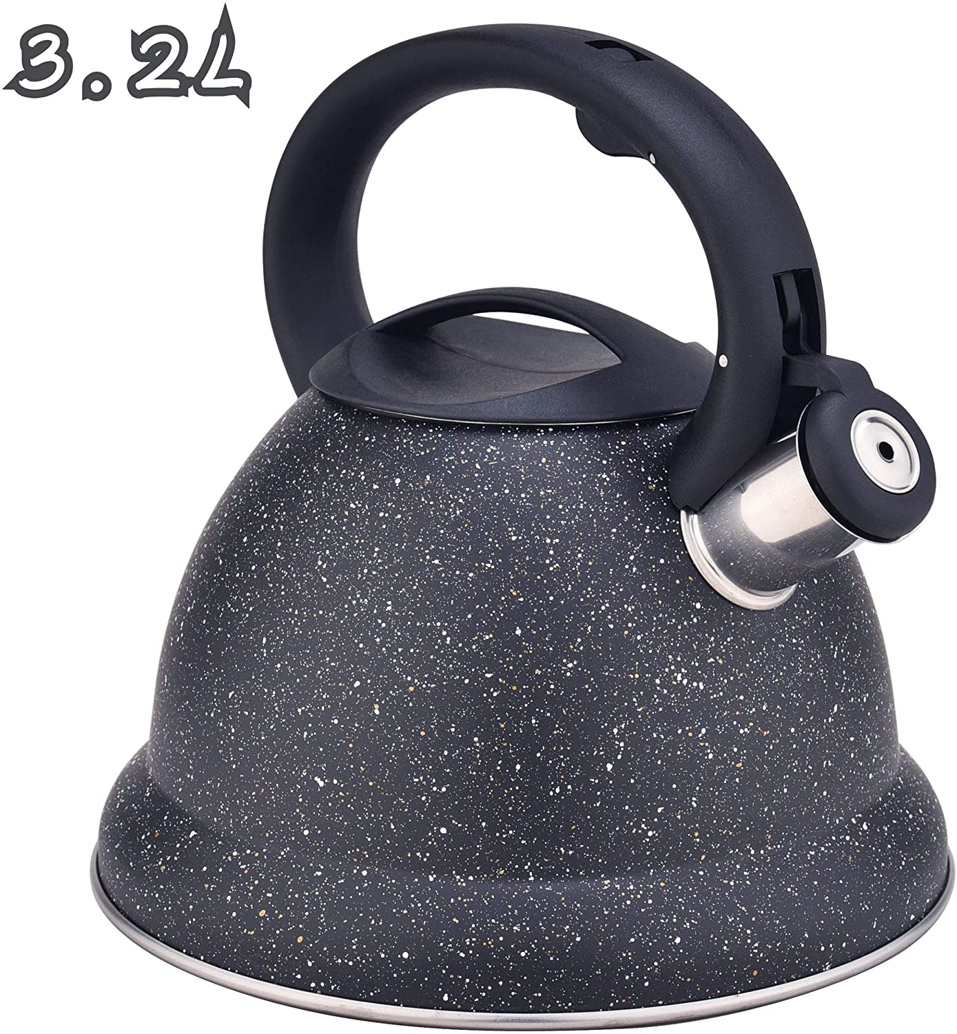ARC USA Tea Durable Black Stove Top Tea kettle, Food Grade Stove Tea Pot with Heat Resistance Handle, Anti-Rust and Loud Whistling, Stainless Steel Tea kettle for Stovetop, (3.2L)