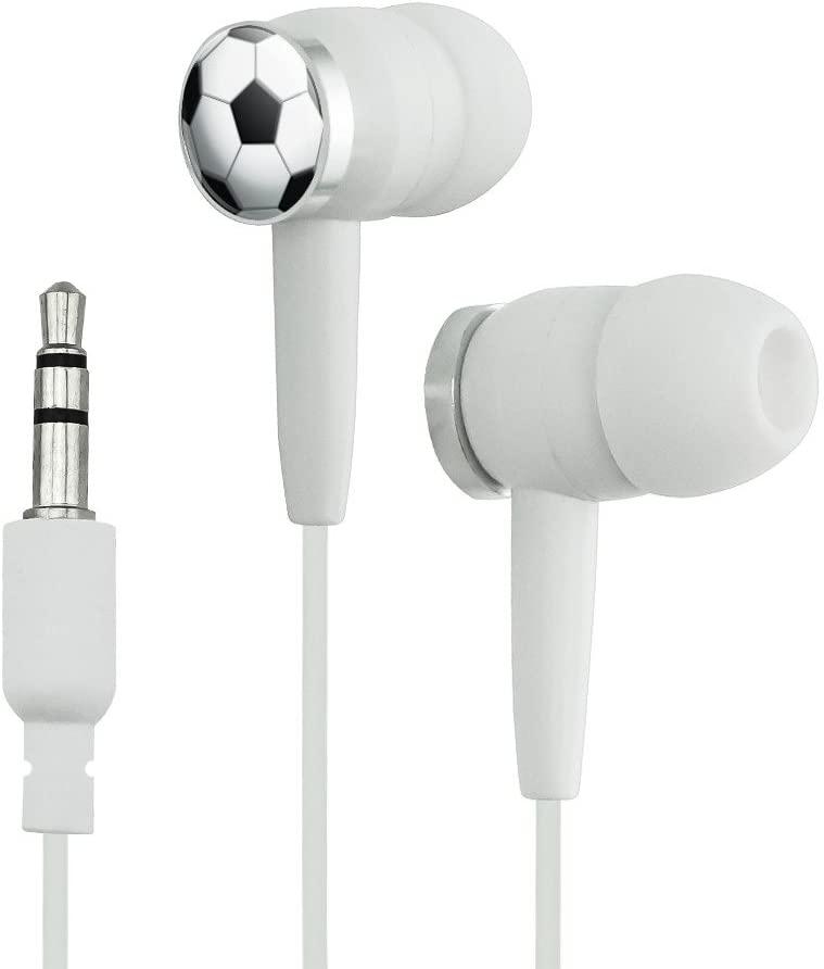 Soccer Ball Football Novelty in-Ear Earbud Headphones - White
