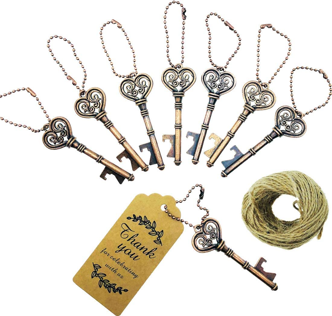 Pack of 50 Antique Copper Skeleton Key Bottle Opener with Escort Tag Card and Twine for Wedding Favors Baby Shower Return Gifts for Guests Bridal Shower Party Favors by WeddParty