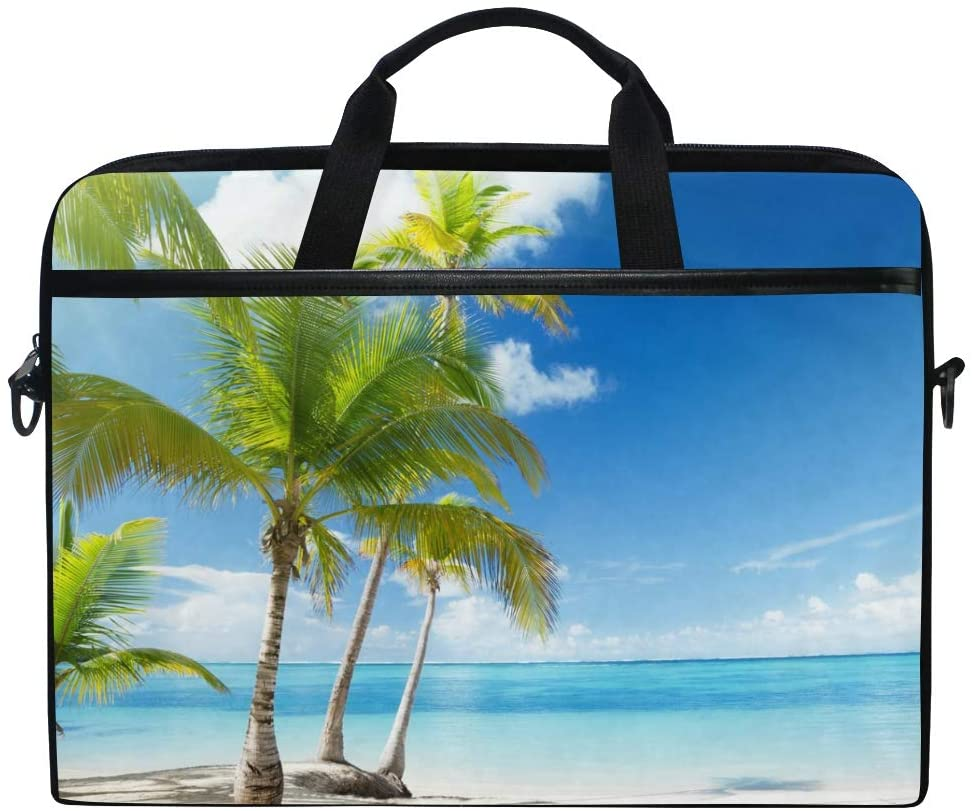 MRMIAN Coconut Palm Tree on The Beach Laptop Case Bag Sleeve Portable/Crossbody Messenger Briefcase Convertible w/Strap Pocket for MacBook Air/Pro Surface Dell ASUS hp Lenovo 15-15.4 inch
