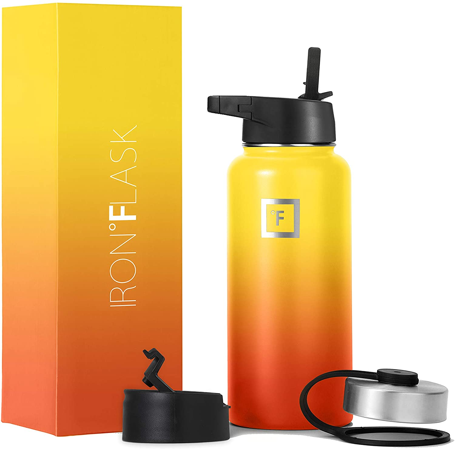 Iron Flask Sports Water Bottle - 32 Oz, 3 Lids (Straw Lid), Vacuum Insulated Stainless Steel, Hot Cold, Modern Double Walled, Simple Thermo Mug, Hydro Metal Canteen (Fire)