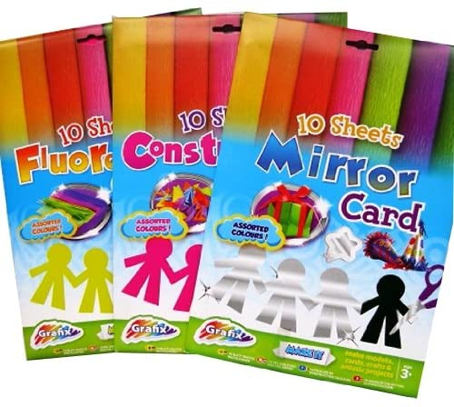 A4 Creative Card Mixed Pack - Fluorescent, Construction, Mirror - 10 Sheets of Each - Assorted Colours