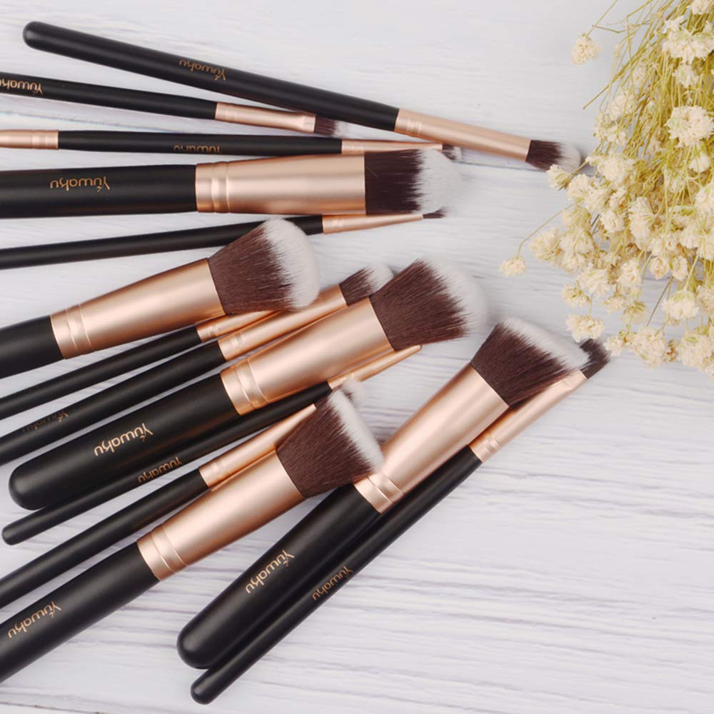 Makeup Brushes 14pcs, Professional Synthetic EyeShadow Blending Powder Liquid Cream Face Brushes Black Cruelty-Free Cosmetic Brushes Kit