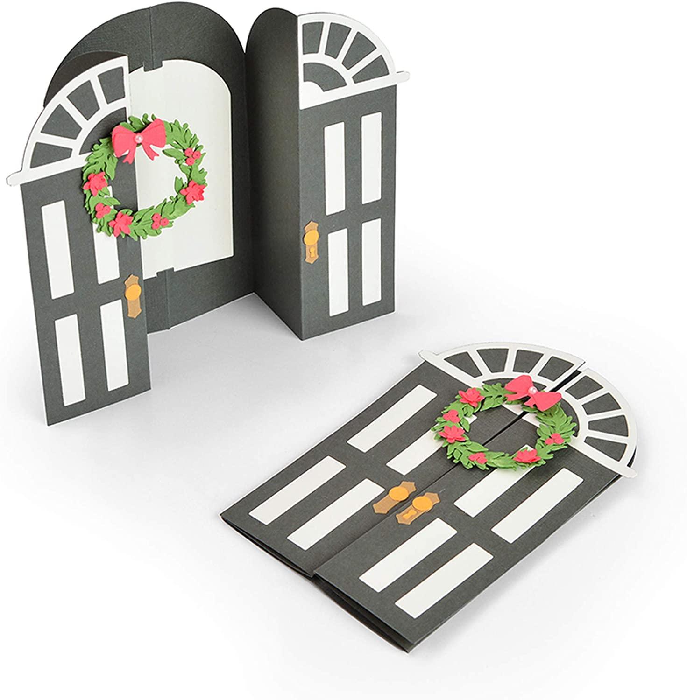Sizzix Card Fold Jen Long Dies, Christmas Door