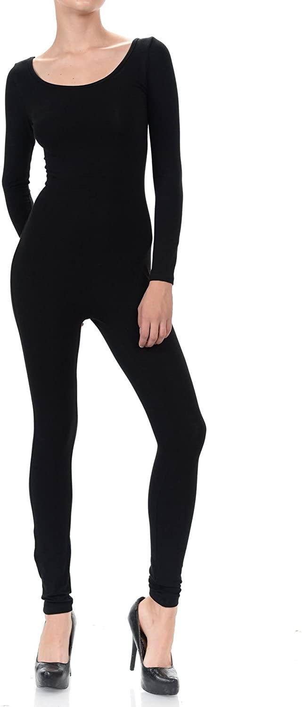 JJJ Women Catsuit Cotton Tank Long Sleeve Yoga Bodysuit Jumpsuit/Made in USA