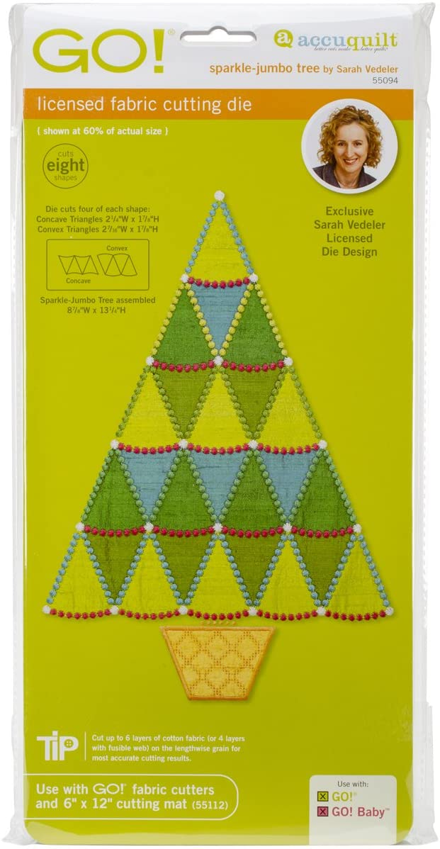 AccuQuilt GO! Fabric Cutting Dies, Sparkle Jumbo Tree by Sarah Vedeler