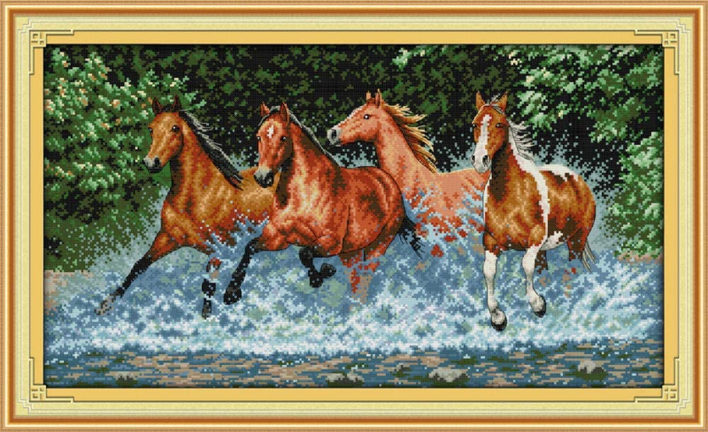 Cross Stitch Kits Horse Running in The River DIY Handmade Needlework Set Cross-Stitch Scenery Patterns Embroidery Home Decoration (40X50 cm)