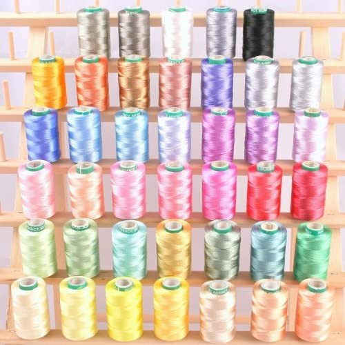 New ThreadNanny 40 Spools of Art Silk Rayon Thread for Machine Embroidery - Frosty Colors
