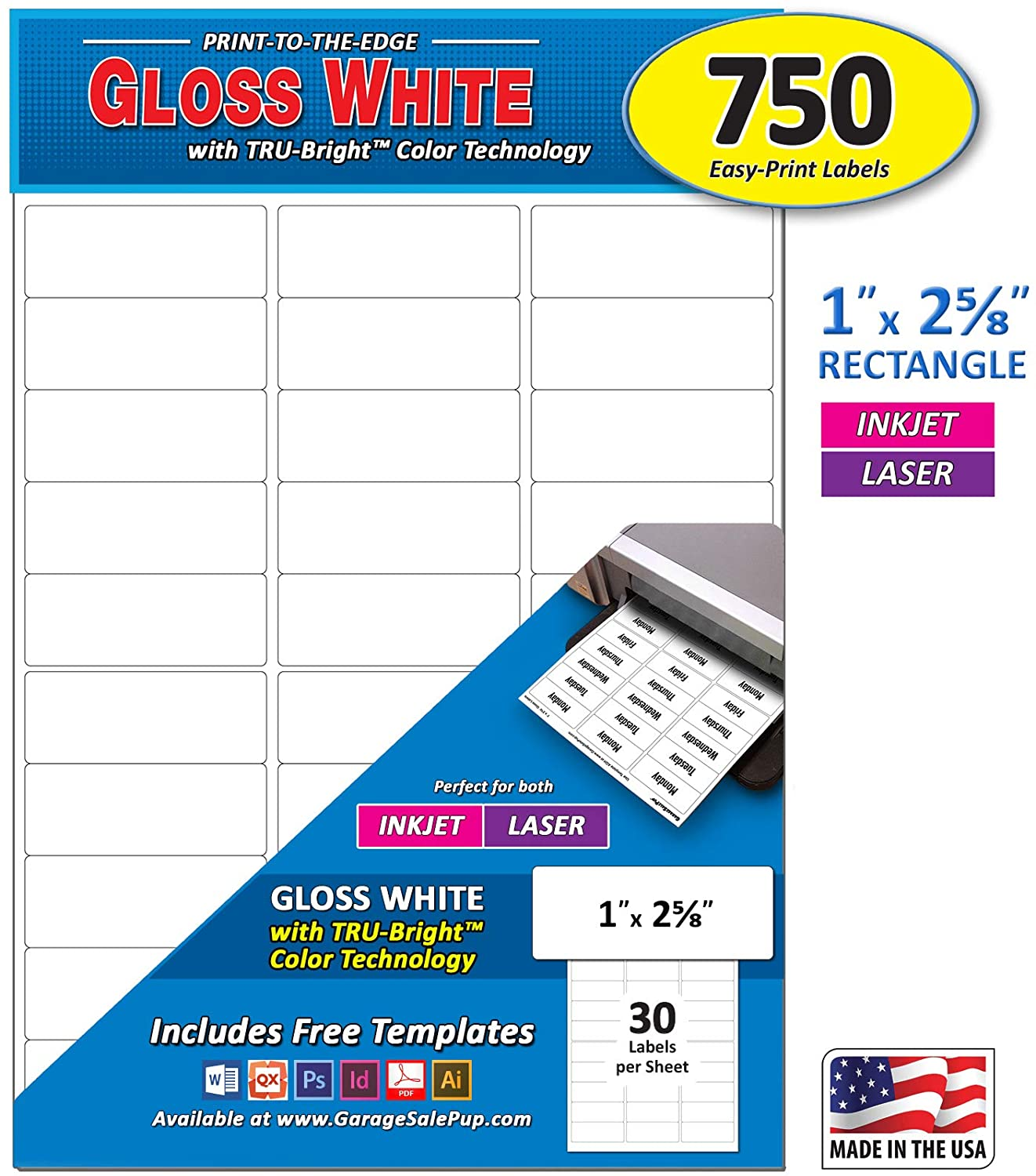 Pack of 750, 1 x 2-5/8 Inch, Bright White Gloss Mailing Address Labels for Laser and Inkjet Printers, Rectangle, 1 x 2.625 in.