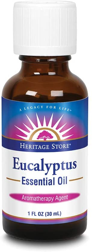 Heritage Store Eucalyptus Essential Oil | Aromatherapy for Clearing Breath, Soothing Skin & Cleansing Air | 1 FL OZ