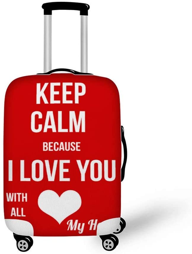 Keep Calm Because I Love You With All My Heart Fashionable Baggage Suitcase Protector Travel Luggage Cover Anti-Scratch