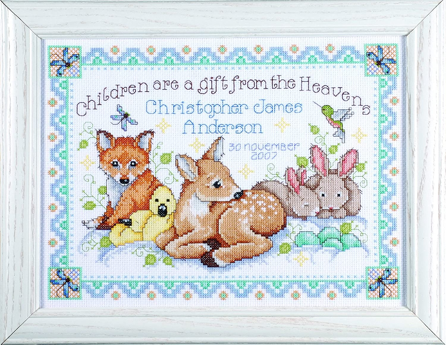 Design Works Crafts Counted Cross Stitch, Woodland Baby Sampler, 12 by 13 inches