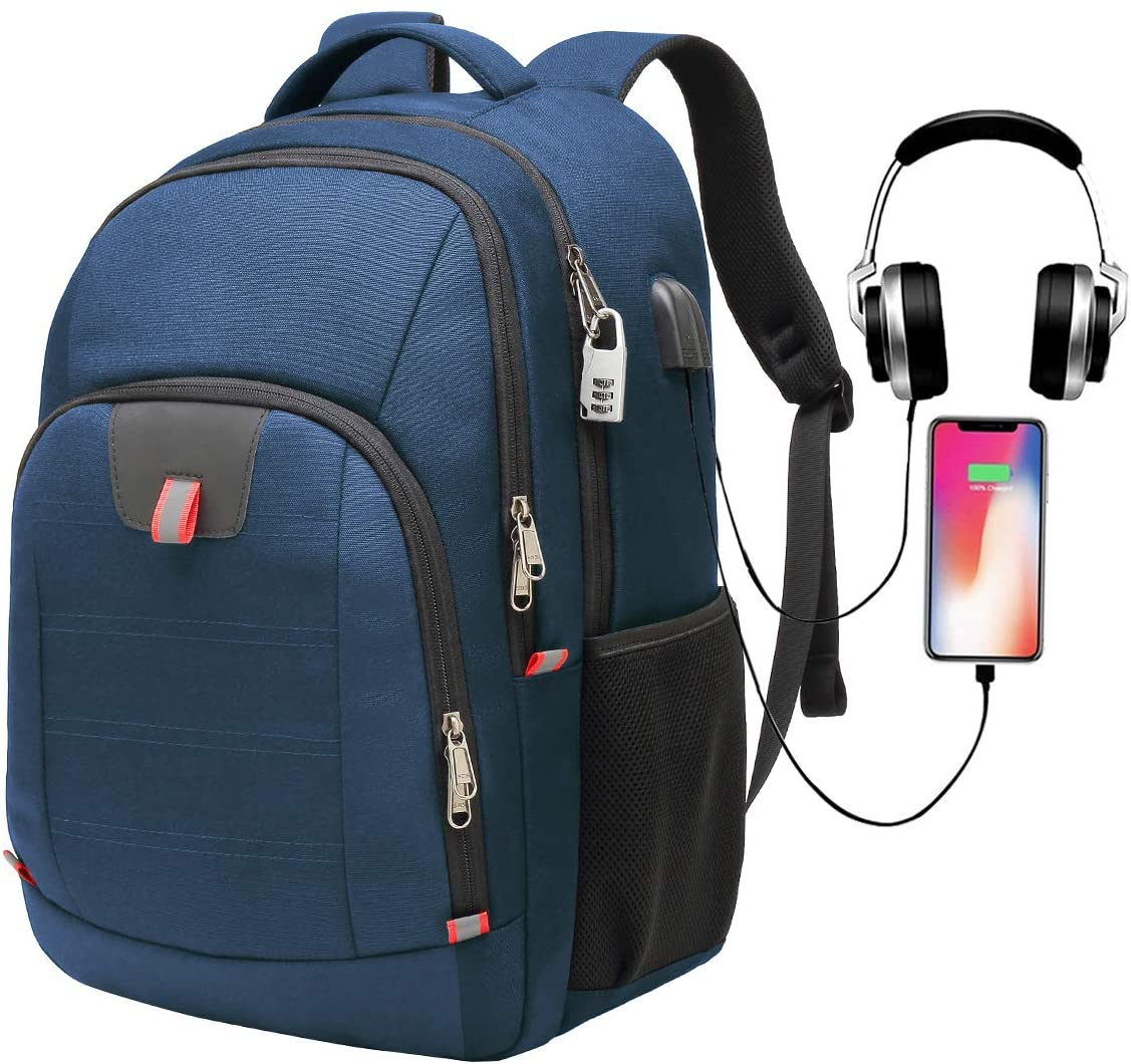 G-raphy Travel Backpack Waterproof for Laptops up to 17-inches with USB Charging Port (Blue)