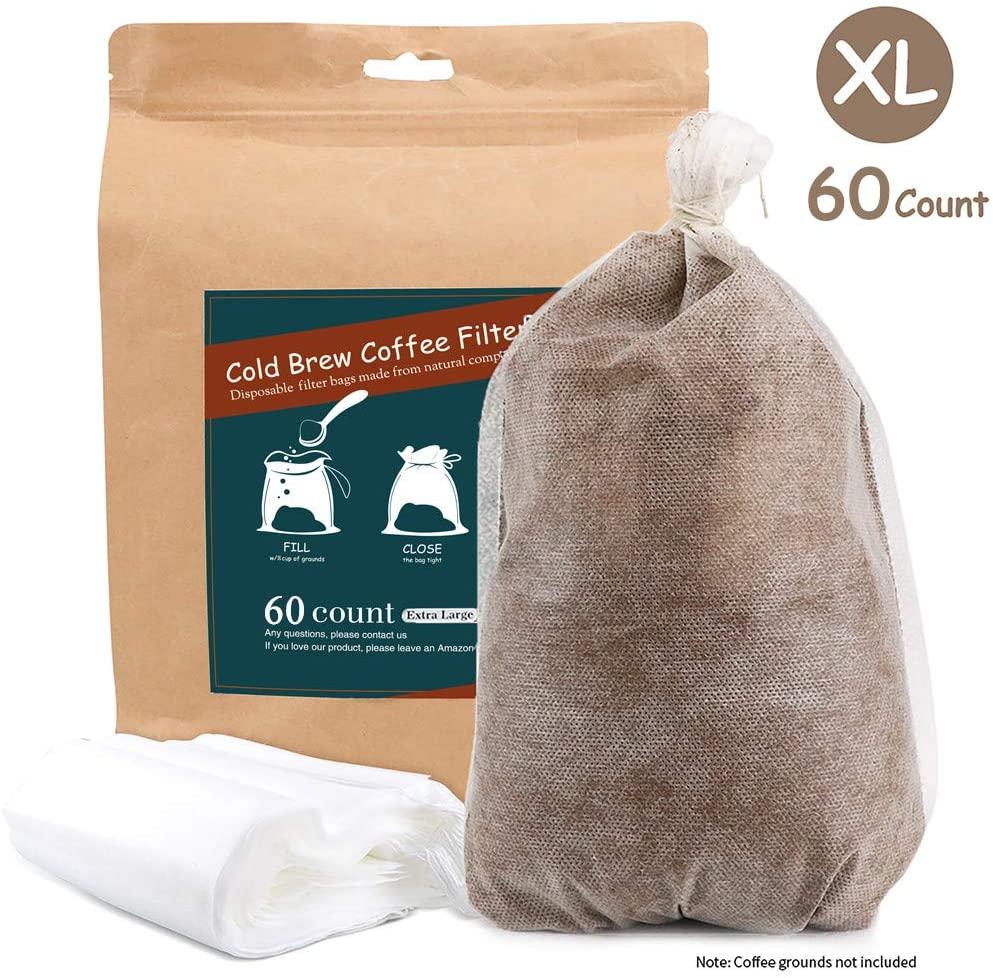 Cold Brew Coffee Filters -Single Use Filter Sock Packs 60 Count Disposable, Fine Mesh Brewing Bags for Concentrate, Iced Coffee Maker, French/Cold Press Kit, Tea in Mason Jar Commercial Size