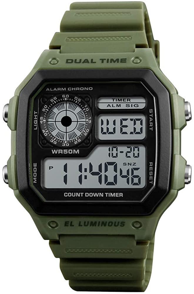 ALCADAN LED Digital Watch Waterproof Alarm Chronograph Sport Watches for Men