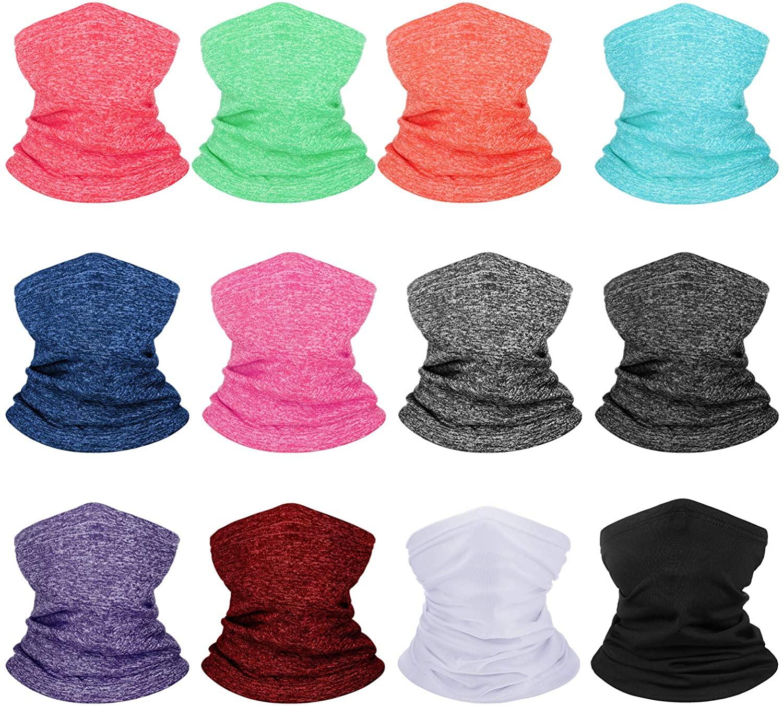 12 Pieces Kids Summer Face Cover Neck Gaiter Sun Protection Face Bandana Colorful Balaclava Scarf
