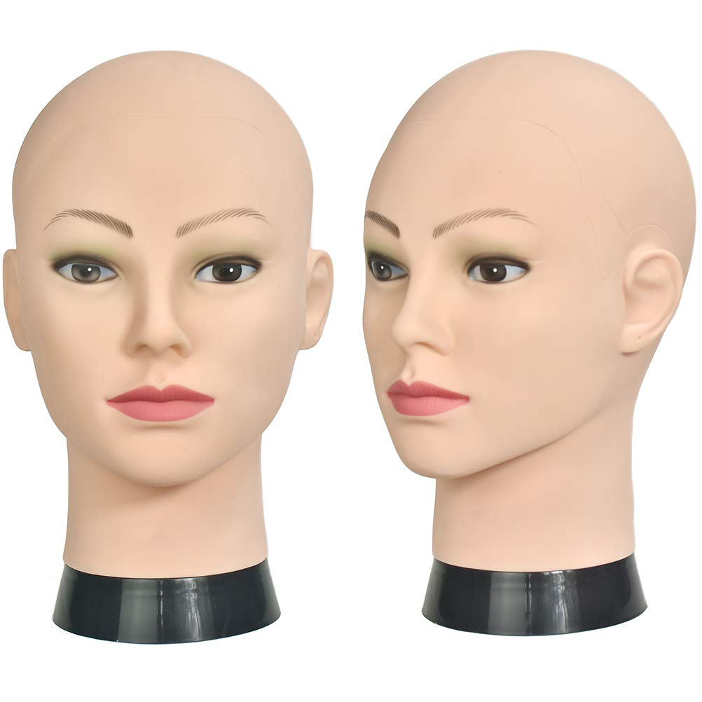 Si Fi Bald Female Make up Manikin Head Cometology Mannequin Head for Wig Making and Dispay with a Free Clamp SF-12-B
