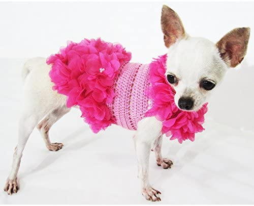 Crochet Pink Dog Dress With Pearls Flower Unique Pet Clothes 14F