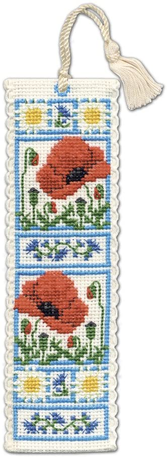 Textile Heritage Poppy Meadow Counted Cross Stitch Bookmark Kit