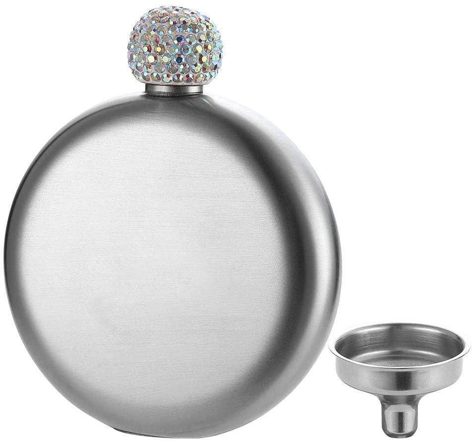 YFS Silver Shot Flask, 5oz 18/8 Stainless Steel Pocket Liquor Flask, Perfect Gift for Women Girls Men
