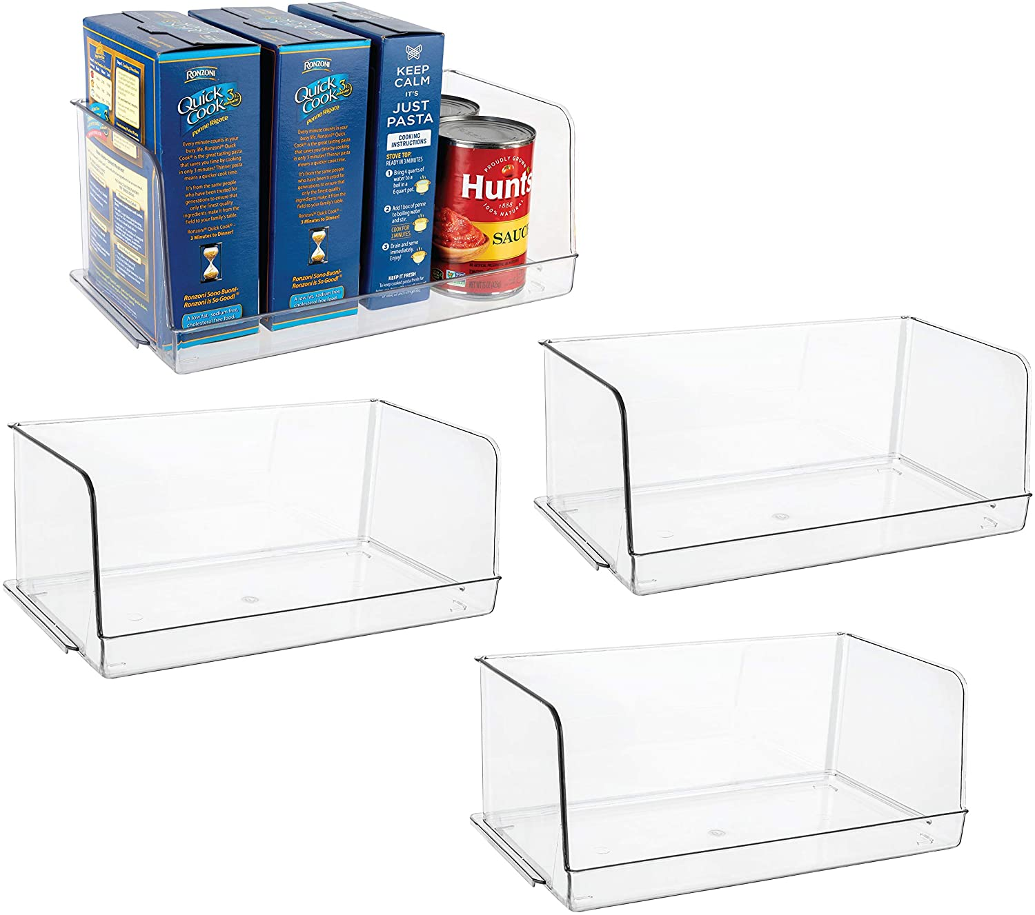 Homeries Stackable Acrylic Storage & Organization Bins Basket - for Kitchen, Pantry, Cabinets, Refrigerator, Pantry, Offices, Closets, Bedrooms, Bathrooms - Space Saving & Open Front (Pack of 4)