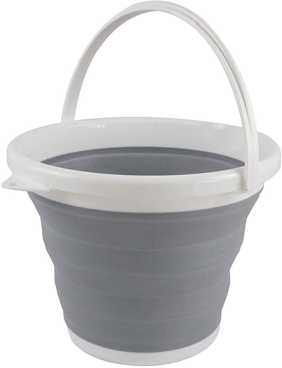 XJS Premium Collapsible Bucket - Portable Folding Water Container - Space Saving Bucket for Washing Dishes and Person During Camping, Hiking and Home Silicone bucket (5L)