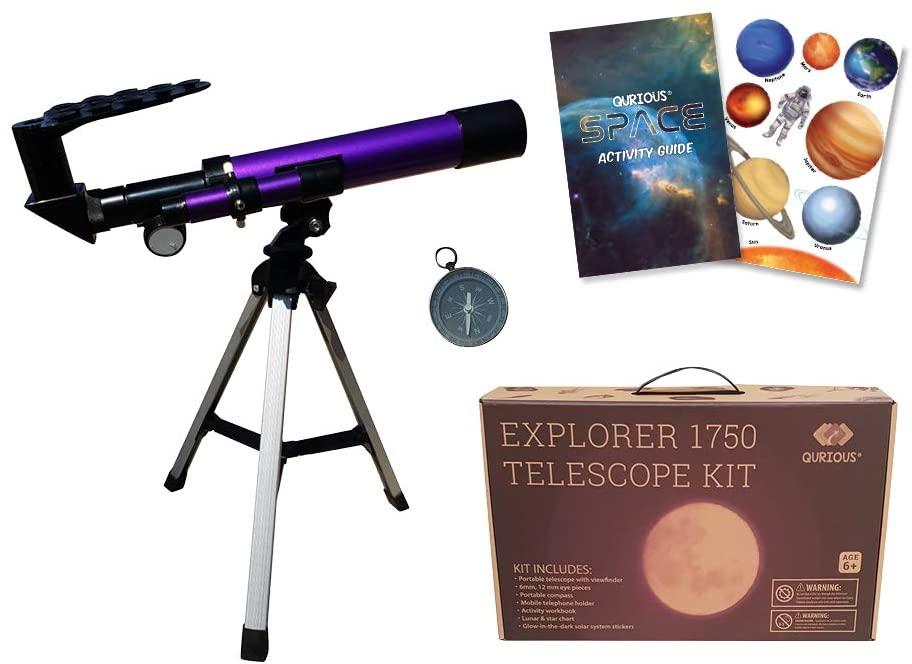 Qurious Space Kid's Explorer Telescope Gift Kit Eco Carry Case 1750 | Children